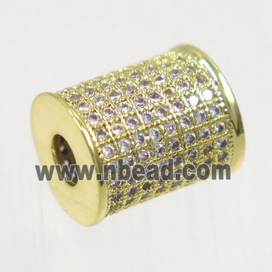 copper tube beads paved zircon, gold plated