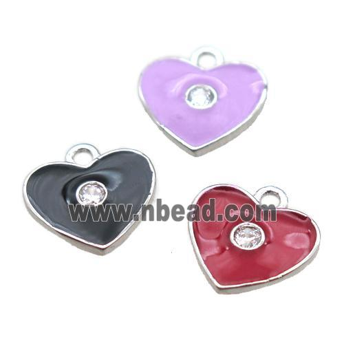 enameling copper heart pendant paved zircon, mixed color, platinum plated