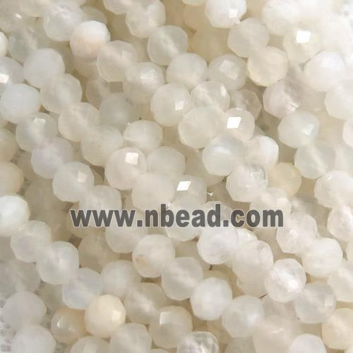 tiny faceted rondelle white MoonStone beads, B-grade