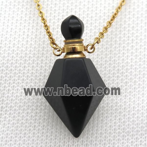 black Onyx Agate perfume bottle Necklace