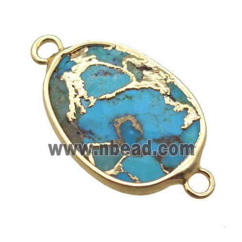 blue African Turquoise connector, gold plated