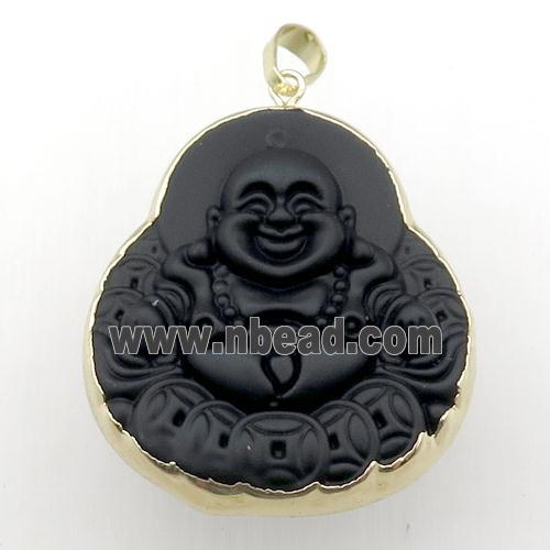 black Jadeite Glass buddha pendant, gold plated