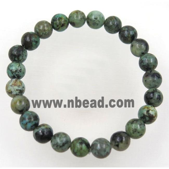 green African Turquoise beads bracelet, round, stretchy