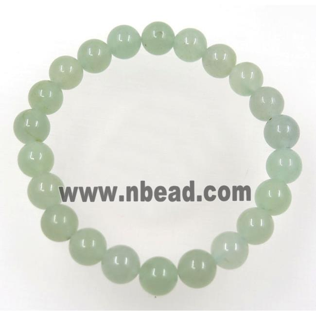 Green Aventurine bead bracelet, round, stretchy (GMBR191) approx 8mm bead, 60mm dia