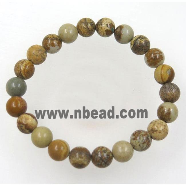 yellow Picture Jasper bead bracelet, round, stretchy