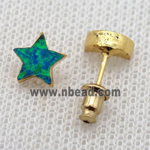 synthetic Fire Opal star Stud Earrings, gold plated (GMER658) approx 8mm