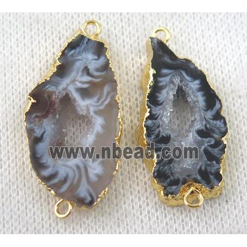 druzy Agate slice connector, freeform, gold plated (GMPDA6806) approx 15-30mm