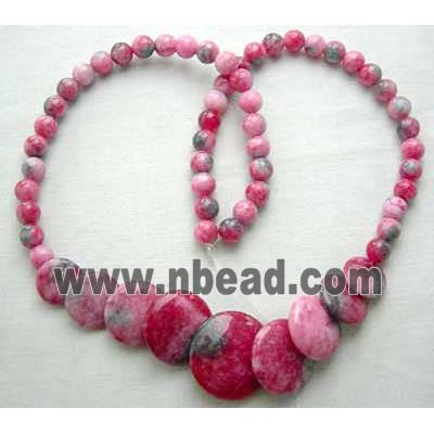 Jade Necklace, flat round, hot pink, 16 inch