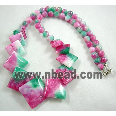 Jade Necklace, square, pink/green, 16 inch