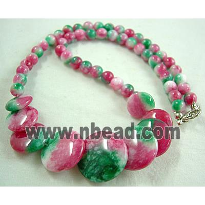 Jade Necklace, coin round, pink/green, 16 inch