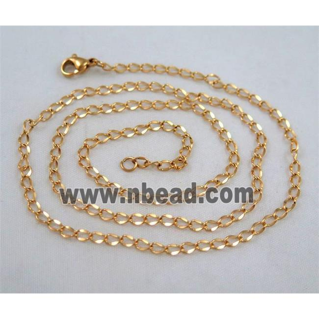 golden plated Stainless Steel Necklace Chain (SSNK50) spp 2.7mm wide, 45cm long
