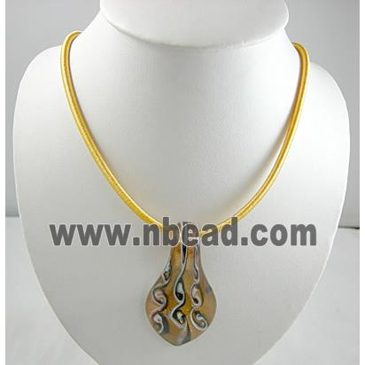 silk-braiding Rubber Necklace Cord, Gold