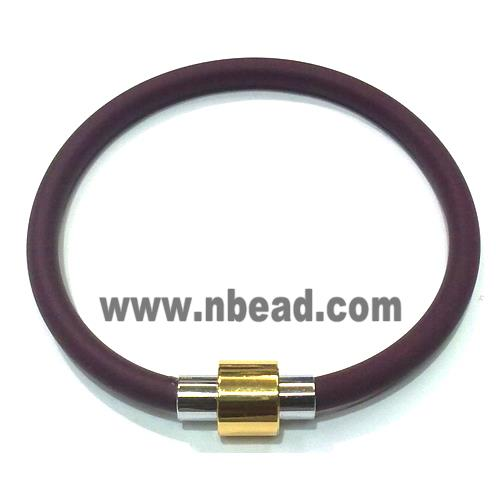 "Jewellry Making necklace and bracelet cord, rubber, deep purple (WIREPL45-8) 5mm dia, 8"" long"