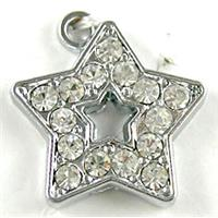 Platinum Plated Star Pendant Paved Rhinestone, 16mm dia