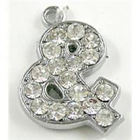 Platinum Plated Jewelry Pendant Enchase Rhinestone, 14x16mm