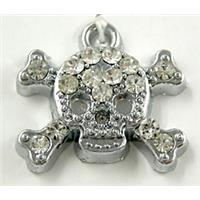 skull Pendants, rhinestone, platinum plated, 17x16mm