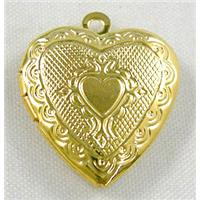 Necklace Locket, Gold Plated, Coppery, 19.5x22mm, 6mm thick