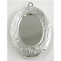 Necklace Photo Locket, Platinum Plated, copper, 22x32mm