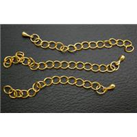 Necklace Extender chain, Copper, Gold Plated, 5cm long, loop:4.3x5mm