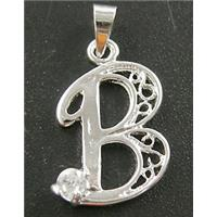 Nickel Free, Silver Plated Copper letter Pendant with Rhinestone, 15x25mm