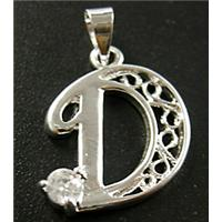 Nickel Free, Silver Plated Copper letter Pendant with Rhinestone, 16x25mm