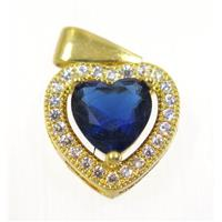 copper Heart pendant paved blue zircon, gold plated, approx 12x12mm