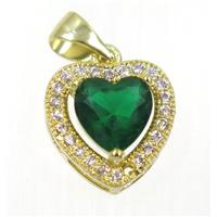copper Heart pendant paved green zircon, gold plated, approx 12x12mm