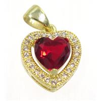 copper Heart pendant paved red zircon, gold plated, approx 12x12mm