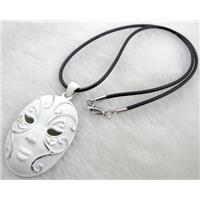 lacquered mask Necklace, alloy, rubber cord, white, 32x55mm, 16 inch long