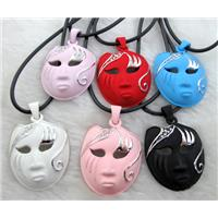 lacquered mask Necklace, alloy, rubber cord, mixed, 30x42mm, 16 inch long
