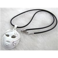 lacquered mask Necklace, alloy, rubber cord, white, 30x42mm, 16 inch long