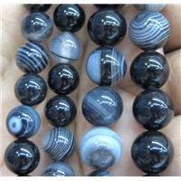 black stripe agate bead, round, approx 4mm dia