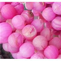 frosted Agate Beads with druzy, round gemstone, pink, 10mm dia, approx 38pcs per st