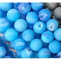 druzy Agate Stone beads, round, frosted, blue, 10mm dia, approx 38pcs per st