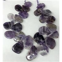 Amethyst beads for necklace, flat-drop, top-drilled, approx 15-20mm, 25-40mm