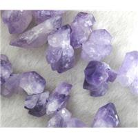 cluster point Natural Chalcedony Beads, freeform, purple, approx 10-35mm