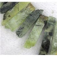 green prehnite beads collar, stick, top drilled, approx 20-60mm