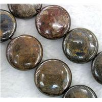 Bronzite Stone Bead, coin round, 10mm dia, approx 40pcs per st