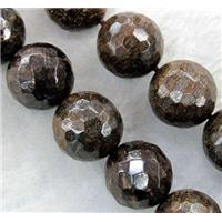 Bronzite Beads, faceted round, 6mm dia, approx 66pcs per st