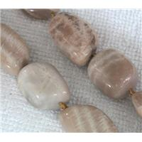 Natural yellow moonstone bead, freeform, approx 15x23mm, 19x26mm, 16 inches