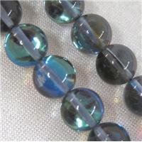 round gray Moonlight beads syntactic with crystal, approx 6mm dia