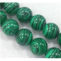 round malachite beads, stabilized, green, approx 14mm dia