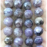 Charoite beads, faceted round, approx 8mm dia