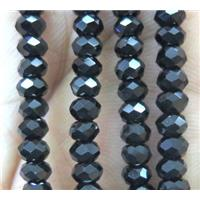 Black Spinel Beads, faceted rondelle, AA-Grade, approx 2.5x4mm, 15.5 inches