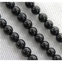 round Black Spinel Bead, approx 4.5mm dia, 15.5 inches