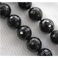 black Spinel Beads, faceted round, approx 6mm dia, 15.5 inches