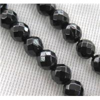faceted round Black Spinel Beads, approx 6mm dia, 15.5 inches