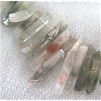 celadonite stick beads for necklace, approx 10-35mm