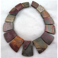 red Picasso Jasper collar necklace, graduated, freeform, approx 20-40mm