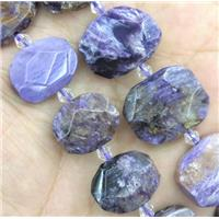 Charoite beads, faceted freeform, purple, approx 15-25mm